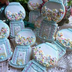 Gumball machine cookies rendered in sweet pastels by Teri Pringle Wood