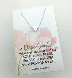 Dance Teacher gifts Tiny Gold or Silver Heart by doodlebead