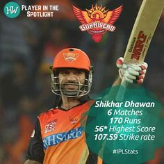 Our Player in the Spotlight for Sunrisers Hyderabad is Shikhar Dhawan! He may have started off this #IPL season on a bad note but his captain's good run has been rubbing off on him. Dhawan will be looking to play long innings and help his team win matches! #IPL2016 #SRHvRCB #cricket