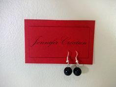 Handmade earrings with a black pearl / Boucles par JenniferCreation