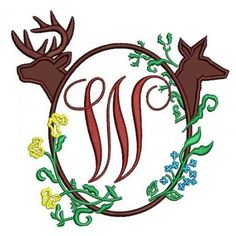 Buck and Doe Frame Applique Machine Embroidery Digitized Pattern- Instant Download - 4x4 ,5x7,6x10 -hoops