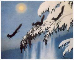 Theodor Kittelsen (1857 -1914) Squirrels in flight, 1905