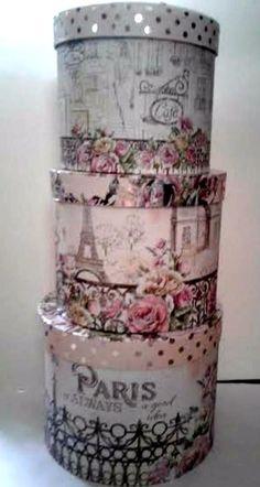 3 Piece Set Paris Eiffel Tower Decorative Round Storage Boxes Floral #Unbranded #VictorianStyle