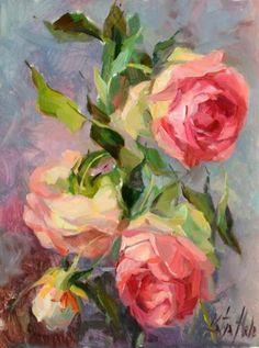 Eden Roses. Oil on board, 16 X 12 in