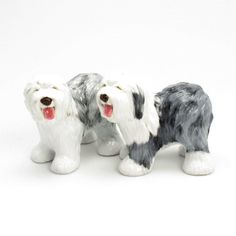HAND PAINTED OLD ENGLISH SHEEPDOG SALT PEPPER SHAKER
