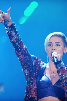 Miley Cyrus performing live.