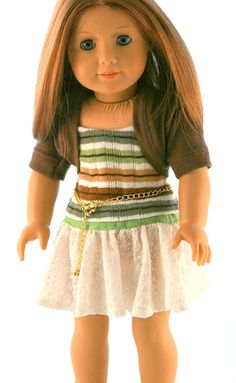 American Girl Doll Clothes - Original Knit Shrug, Striped Sweater Tank, Textured Knit Skirt, and Chain Belt