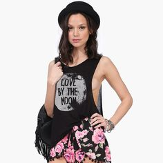 RICHCOCO LOVE BY THE MOON Print Open Side Cotton Tank Top - ezbuy