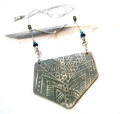 Tribal Boho Etched Shield Necklace // Urban Eclectic Jewelry // Handmade in Tamarindo Costa Rica Tamarindo, My Boutique, Costa Rica, Jewelry Accessories, Handmade Jewelry, Urban, Shoulder Bag, Boho, Silver