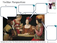 The Art Curator for Kids - Character Analysis Art Activity - Twitter Perspectives - Georges de La Tour, The Cheat with the Ace of Clubs, late 1620s, Oil on canvas