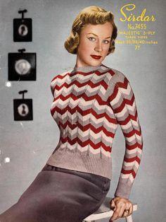 Bad Girl Striped Jumper , 36 38 40 in bust (plus size) - Vintage Knitting Pattern PDF (522)