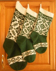 """As the result of a trip to Norway, I was inspired by the beautiful designs that were used in the knitting from Selbu, the home of the now famous """"Selbu Mittens"""". The museum in Selbu has some wonderful pieces of knitting history. This Christmas stocking incorporates a variation of """"spider in the bough"""" with scroll work both at the top of the stocking and the toe. I saw many examples of these borders in the Selbu museum. They were used in hats, mittens, socks and sweaters."""
