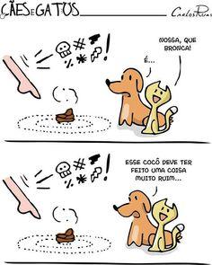 haha <3 #petmeupet #cachorro #gato Animals And Pets, Funny Animals, Cute Animals, I Love Cats, Cute Cats, Funny Cartoons, Funny Memes, Cat Dog, Top Memes