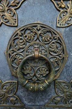 Bronze knocker on the church door