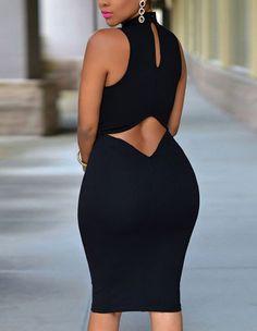 Sexy Black Cutout Back Close-Fitting Party Clubwear Night Midi Dress