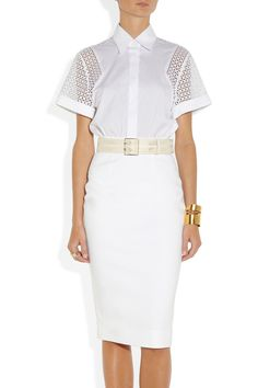 Victoria Beckham | Belted lace and cotton-poplin dress | NET-A-PORTER.COM