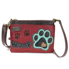 Front view of Woof Paw Print Mini Crossbody Purse by Chala