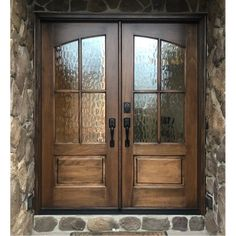 Miranda 4-Lite True Divided Lite Square Top Double Entry Door (With Flemish Glass) Replacing Front Door, Double Front Entry Doors, Double Doors Exterior, Front Door Entrance, Glass Front Door, Arched Doors, Aluminium Doors, House Front, Front Porch