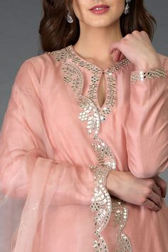 Newest Images Embroidery Designs for suits Concepts Pressed Rose Gota Patti and Mirror Work Farshi Palazzo Suit Pakistani Dresses Casual, Indian Fashion Dresses, Pakistani Dress Design, Indian Outfits, Dress Neck Designs, Stylish Dress Designs, Designs For Dresses, Blouse Designs, Neck Designs For Suits