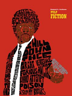 Awesome typographical poster of Jules quote from Pulp Fiction. Pulp Fiction, Quentin Tarantino Films, Best Movie Posters, Arte Horror, Alternative Movie Posters, About Time Movie, Typography Inspiration, Design Inspiration, Film Music Books