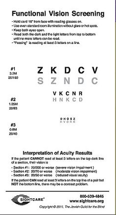 Visual Acuity and Contrast Screening Card - A screening tool for health care professionals to identify vision-related problems, including visual acuity and contrast. Allows health professionals to recognize and respond to vision problems in patients. Includes a screening card, instructions, and recording sheets. Pinned by ottoolkit.com your source for geriatric occupational therapy resources.