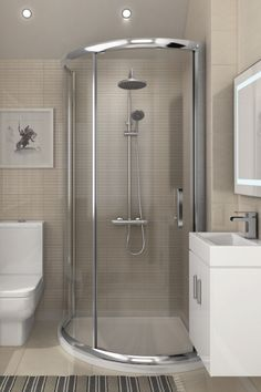 Planning an update to your ensuite bathroom? This small master bathroom showcases a stylish way of incorporating a corner shower enclosure, bathroom vanity cab Small Bathroom Layout, Small Bathroom With Shower, Modern Bathroom, Small Basement Bathroom, White Bathroom, Small Bathroom Plans, Modern Small Bathrooms, Minimal Bathroom, Tiny House Bathroom