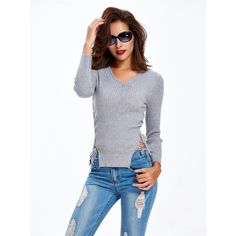 Sheath Plain Grey V-neck Short Pullover Knit Sweater (44 BAM) ❤ liked on Polyvore featuring tops, sweaters, gray v neck sweater, knit pullover, knit sweater, v neck pullover sweater and v-neck sweater