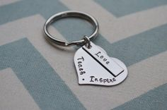 Hand Stamped Teach Love Inspire Teacher Gift by SilverWingsDesigns, $12.00
