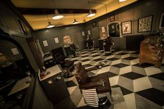 Patterned floor for a 1920s New York themed barber shop in Fife.