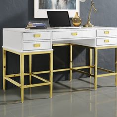Gilbery Stainless Steel and Antique Glass Five Drawer Writing Desk