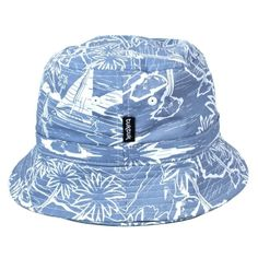 Tuktuk Printed Bucket Hat Tropical Print (295.045 VND) ❤ liked on Polyvore featuring accessories, hats, fisherman hat, fishing hat, cocktail hat, summer hats and blue hat