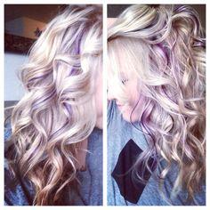 """Hidden"" purple panels I got today:) #hair #purple #lilac #violet #blonde #panels #peekaboostreaks"