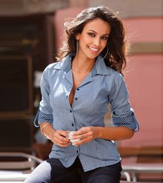 Camisas de mujer manga larga efecto lavado 7 Business Look, Ruffle Blouse, Suits, How To Wear, Tops, Women, Fashion, Full Sleeves, Chiffon