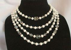 Vintage Milk Glass and Glass Crystal Bib Necklace Handcut Austrian Multistrand Tiered 4 Strand via Etsy