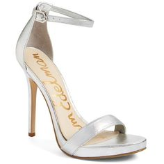 Women's Sam Edelman 'Eleanor' Ankle Strap Sandal ($55) ❤ liked on Polyvore featuring shoes, sandals, heels, soft silver leather, stiletto heel sandals, platform heel sandals, platform shoes, platform stilettos and stiletto sandals