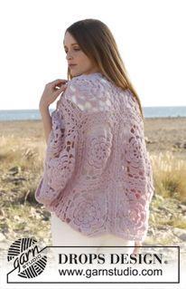 """Crochet DROPS bolero in """"Alpaca"""" and """"Kid-Silk"""". ~ DROPS Design"""