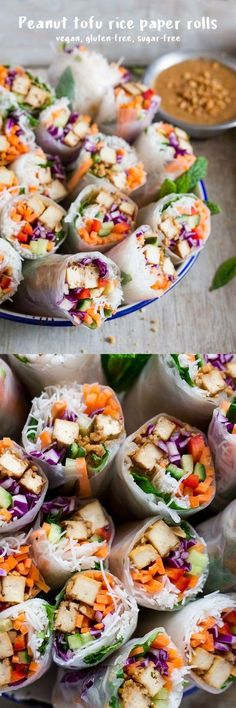 These peanut tofu ricepaper rolls make a great light and portable lunch, snack or appetizer. They are vegan & gluten-free