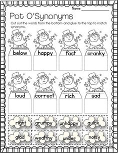 Freebie picture antonym cards slp synonymantonym freebies st patricks day math literacy printables mcprint m4hsunfo