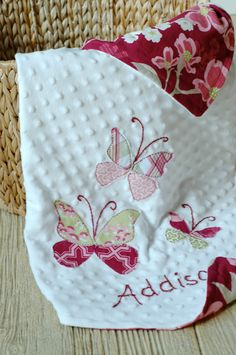 Cute baby blanket with butterfly applique
