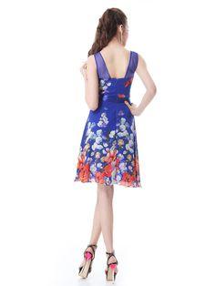 Mini Chiffon Round Nekcline Floral Printed Sleeveless Party Dress