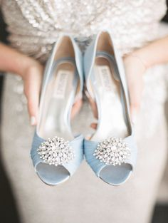 Soft blue Badgley Mischka heels: http://www.stylemepretty.com/2017/05/10/favorite-way-to-rock-your-something-blue/ Photography: Cecelia - http://cecelinaphotography.com/