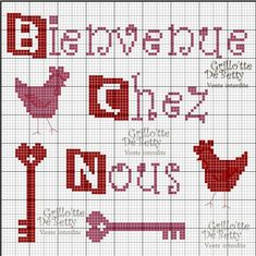 Bienvenue - welcome - point de croix - cross stitch - Blog : http://broderiemimie44.canalblog.com/