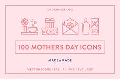 Mothers Day Line Icons on Creative Market