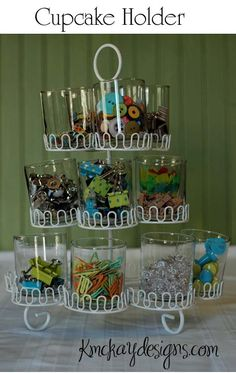 Drinking Glasses and a Cupcake Stand to keep small items organized and easy to see