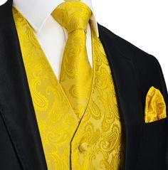 Yellow-Gold Paisley Tuxedo Vest Set