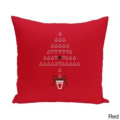 E by Design Blue/ Red/ Green Decorative Holiday Print 18-inch Pillow (Red)
