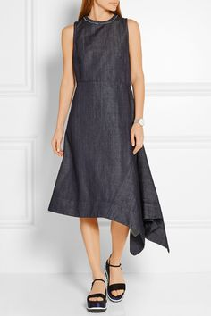Marni | Asymmetric denim midi dress | NET-A-PORTER.COM
