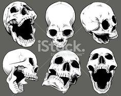 Vintage Vector Skull Collection Artes e ilustrações vetoriais livres de royalties