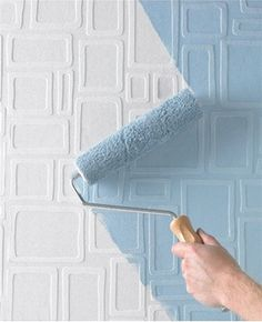 """Graham and Brown """"Squares"""" Feature Wall Paintable Wallpaper. Love the idea of textured wall with your choice of colour!"""