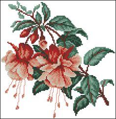 "Free cross-stitch pattern ""Fuchsia"" | Cross-Stitch Club"